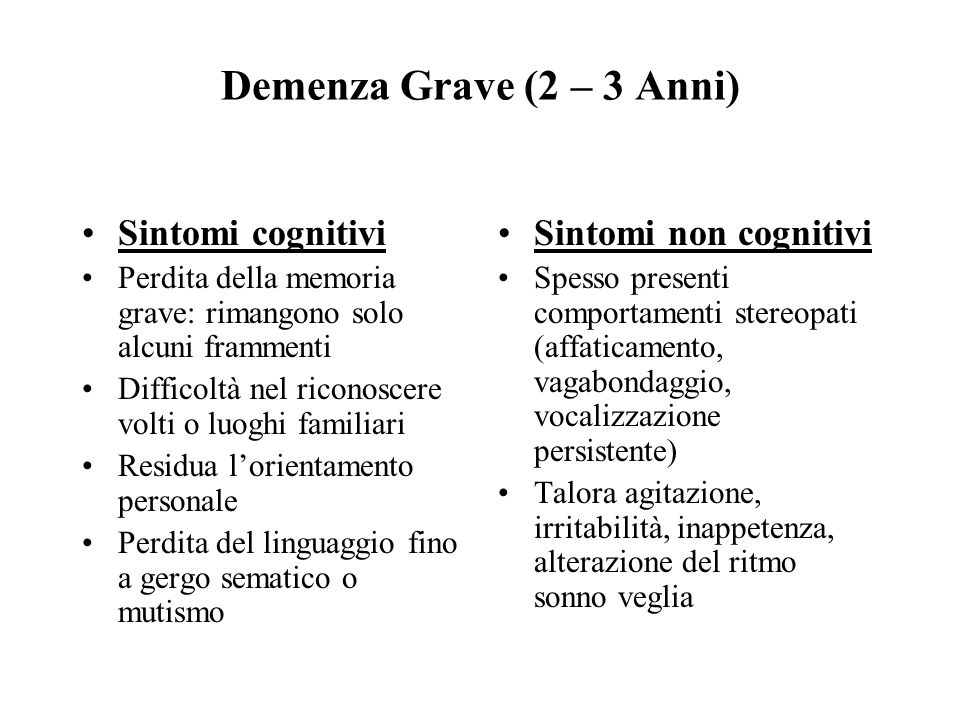 Demenza Grave (2 – 3 Anni) Sintomi cognitivi Sintomi non cognitivi