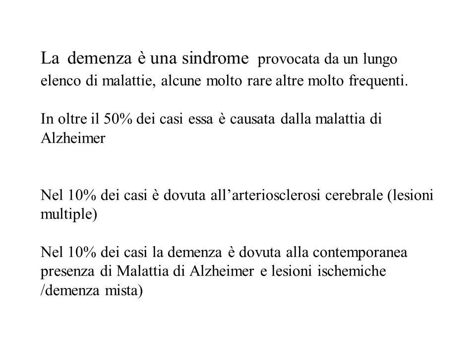 La demenza è una sindrome provocata da un lungo elenco di malattie, alcune molto rare altre molto frequenti.