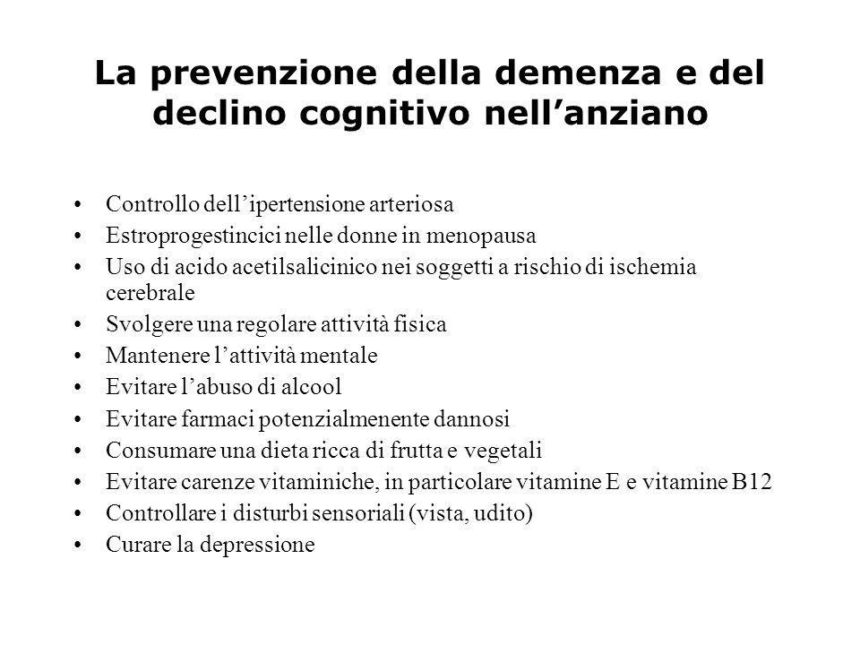 La prevenzione della demenza e del declino cognitivo nell'anziano