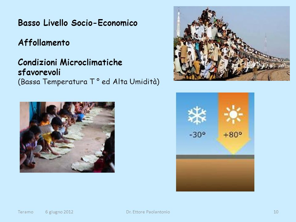 Basso Livello Socio-Economico Affollamento Condizioni Microclimatiche sfavorevoli (Bassa Temperatura T ° ed Alta Umidità)