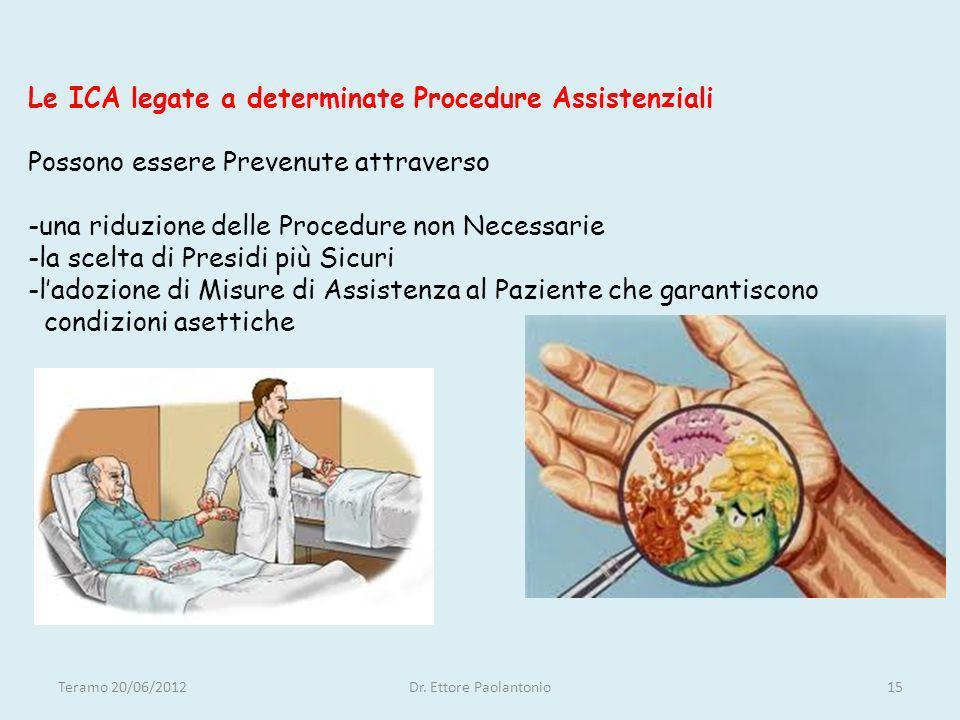 Le ICA legate a determinate Procedure Assistenziali Possono essere Prevenute attraverso -una riduzione delle Procedure non Necessarie -la scelta di Presidi più Sicuri -l'adozione di Misure di Assistenza al Paziente che garantiscono condizioni asettiche