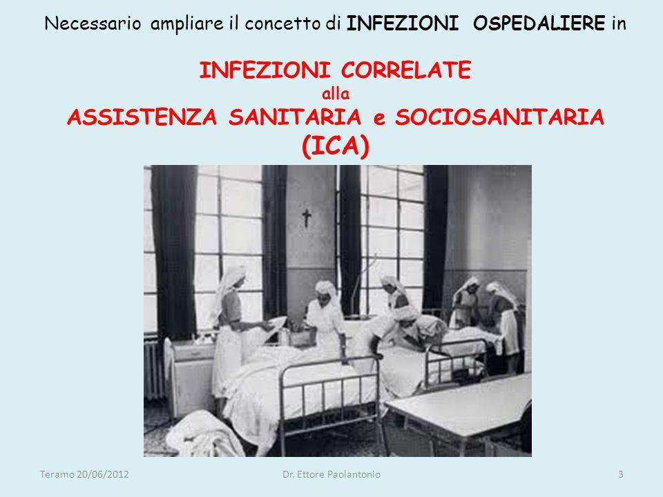 Necessario ampliare il concetto di INFEZIONI OSPEDALIERE in INFEZIONI CORRELATE alla ASSISTENZA SANITARIA e SOCIOSANITARIA (ICA)