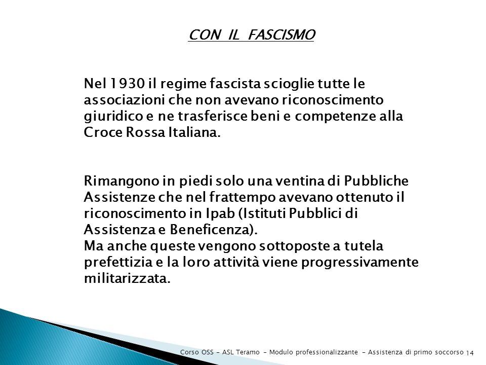 Nel 1930 il regime fascista scioglie tutte le