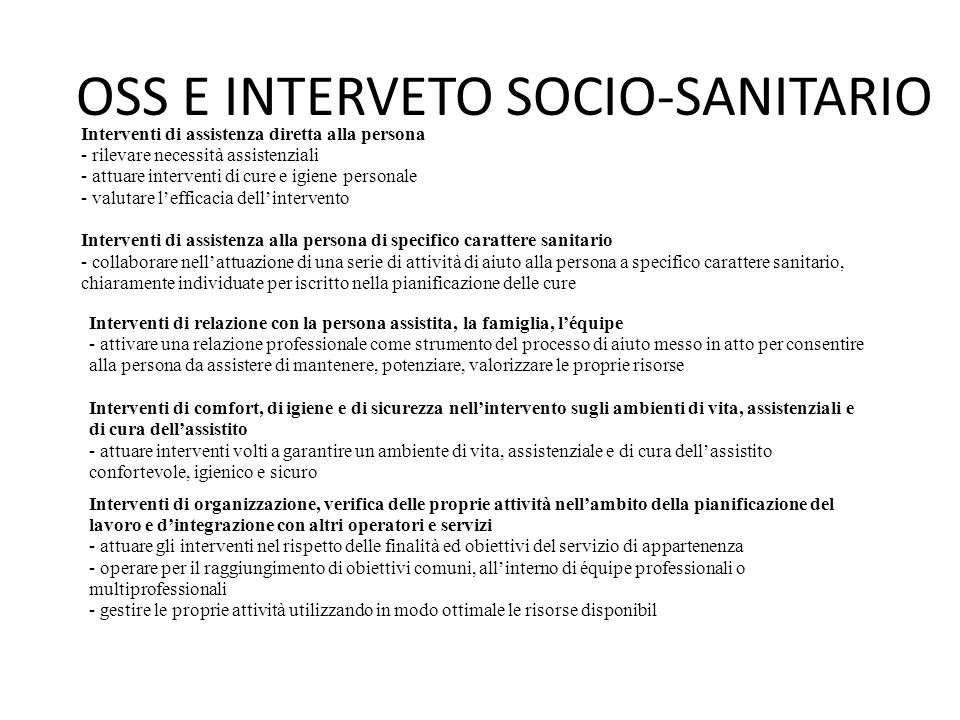 OSS E INTERVETO SOCIO-SANITARIO