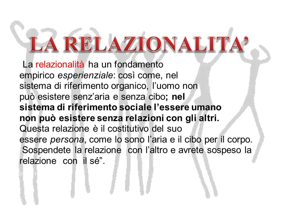 LA RELAZIONALITA' La relazionalità ha un fondamento