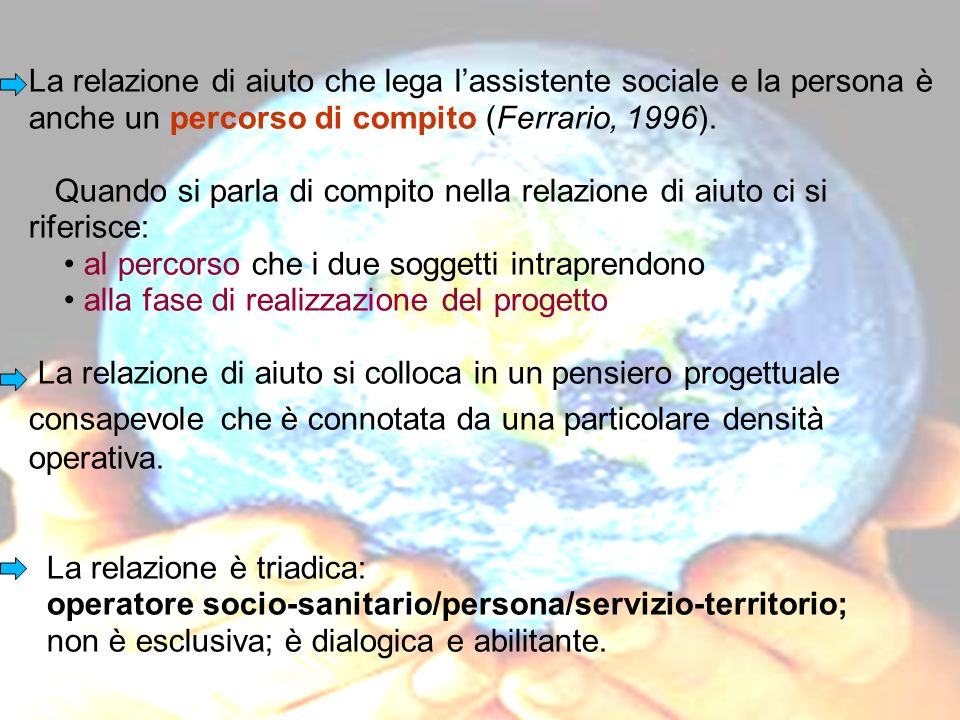 La relazione di aiuto che lega l'assistente sociale e la persona è anche un percorso di compito (Ferrario, 1996).