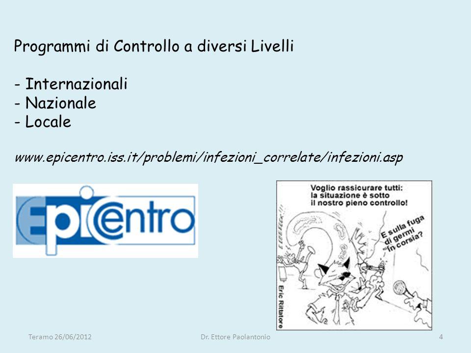 Programmi di Controllo a diversi Livelli - Internazionali - Nazionale - Locale www.epicentro.iss.it/problemi/infezioni_correlate/infezioni.asp