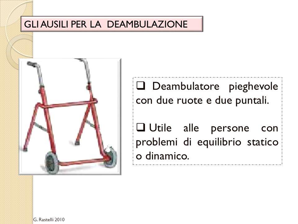 Deambulatore pieghevole con due ruote e due puntali.