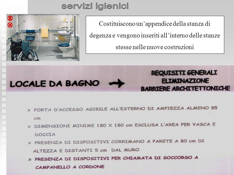 servizi igienici Costituiscono un'appendice della stanza di degenza e vengono inseriti all'interno delle stanze stesse nelle nuove costruzioni.