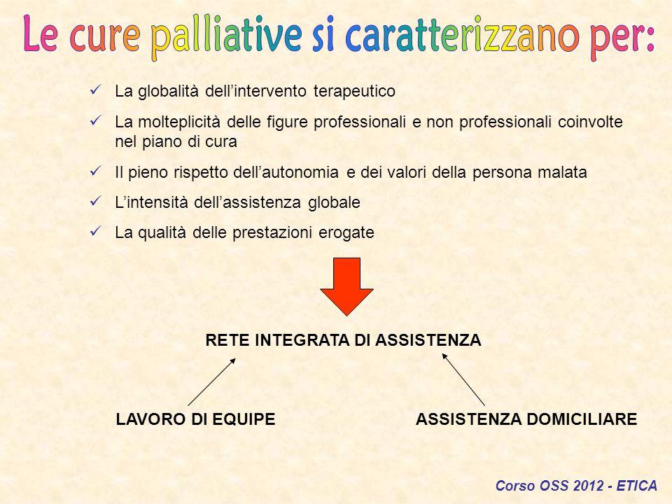 Le cure palliative si caratterizzano per: