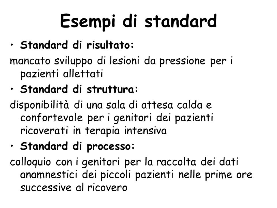 Esempi di standard Standard di risultato: