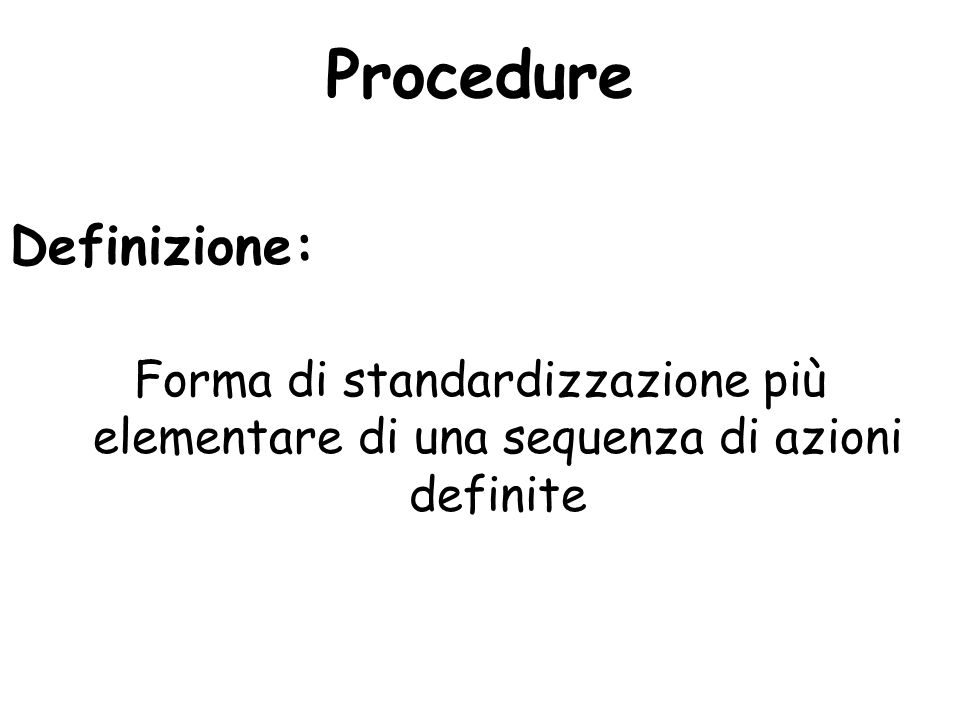 Procedure Definizione: