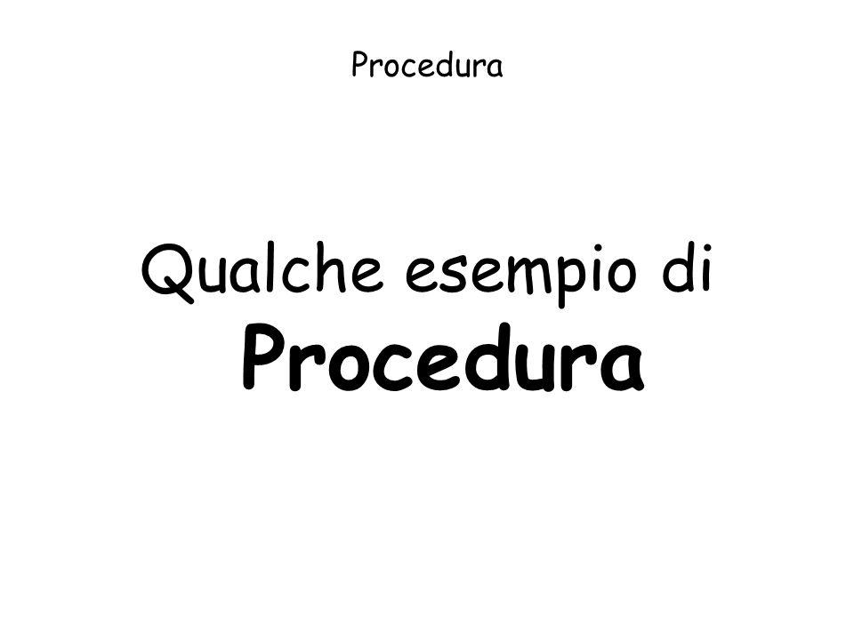 Qualche esempio di Procedura