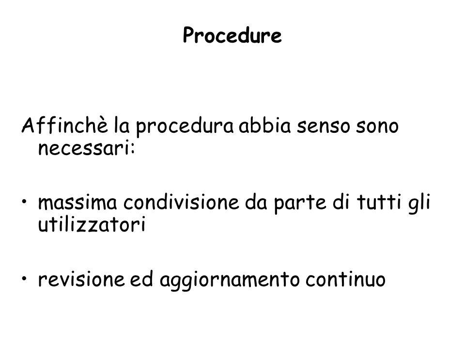 Procedure Affinchè la procedura abbia senso sono necessari: massima condivisione da parte di tutti gli utilizzatori.