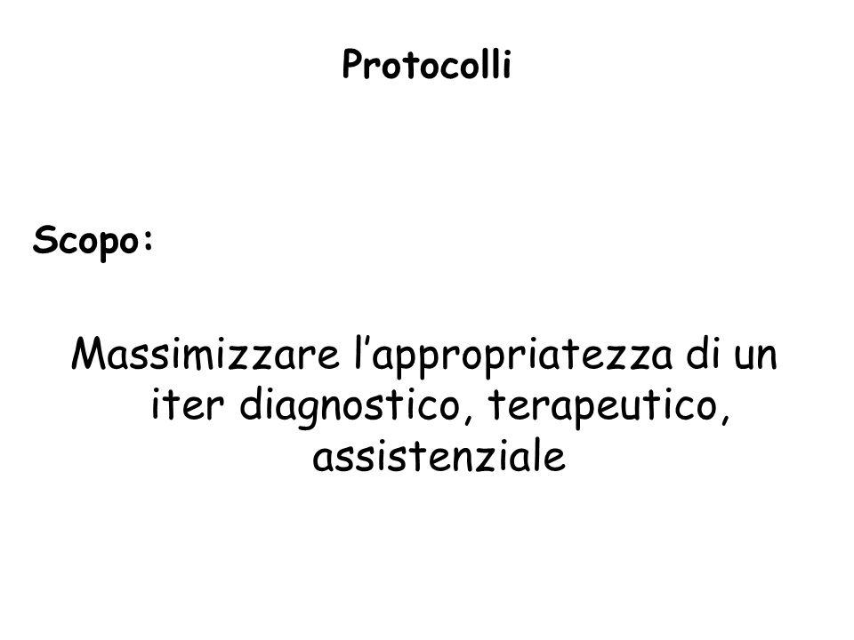 Protocolli Scopo: Massimizzare l'appropriatezza di un iter diagnostico, terapeutico, assistenziale
