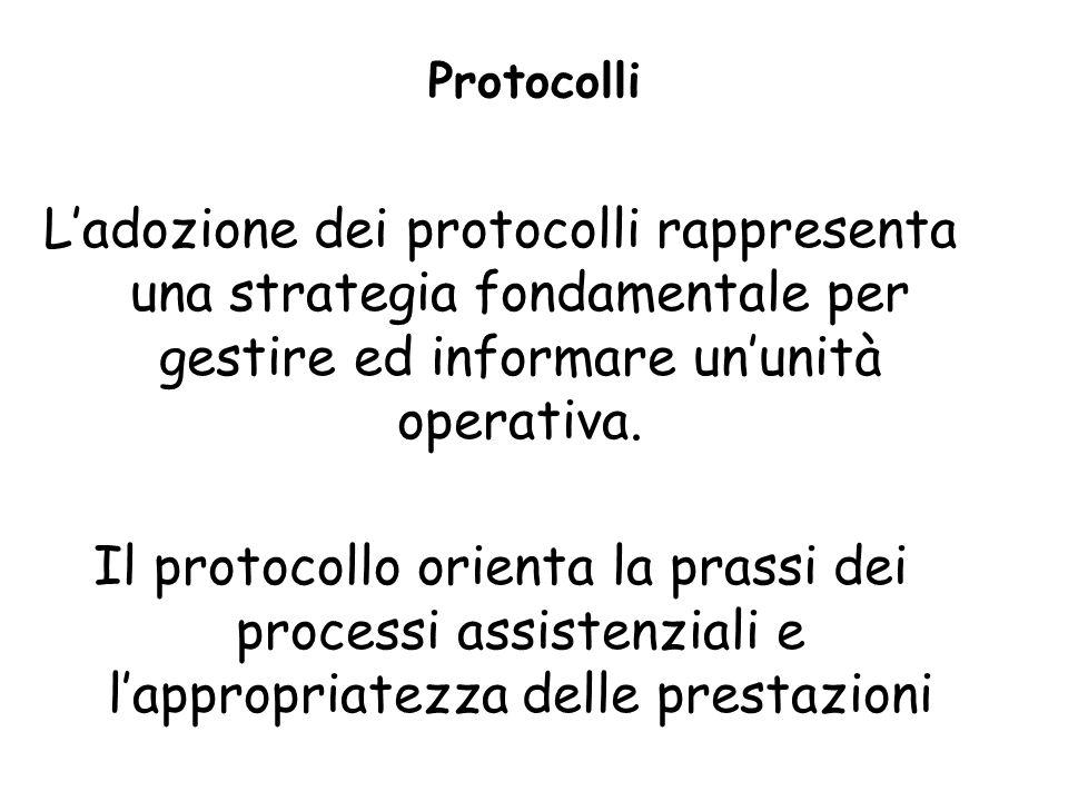 Protocolli L'adozione dei protocolli rappresenta una strategia fondamentale per gestire ed informare un'unità operativa.