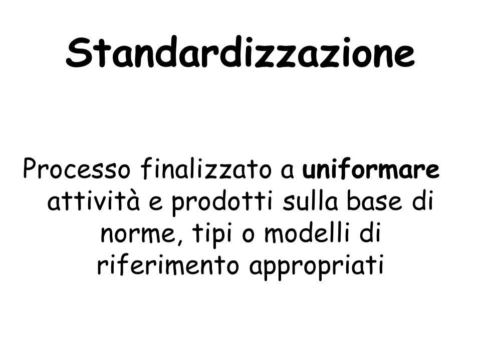 Standardizzazione Processo finalizzato a uniformare attività e prodotti sulla base di norme, tipi o modelli di riferimento appropriati.