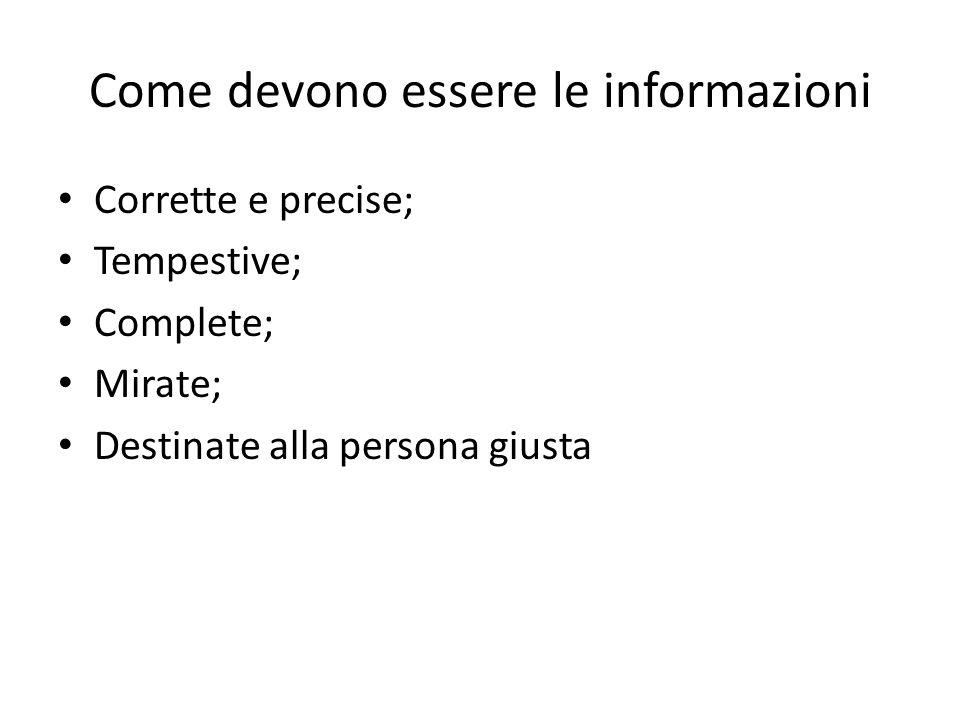 Come devono essere le informazioni