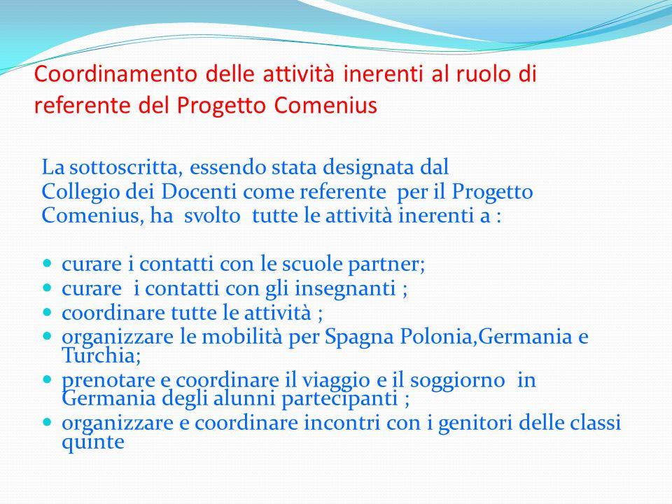 Coordinamento delle attività inerenti al ruolo di referente del Progetto Comenius