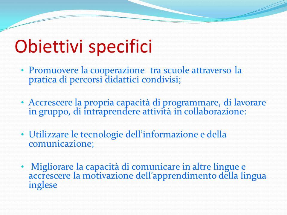Obiettivi specifici Promuovere la cooperazione tra scuole attraverso la pratica di percorsi didattici condivisi;