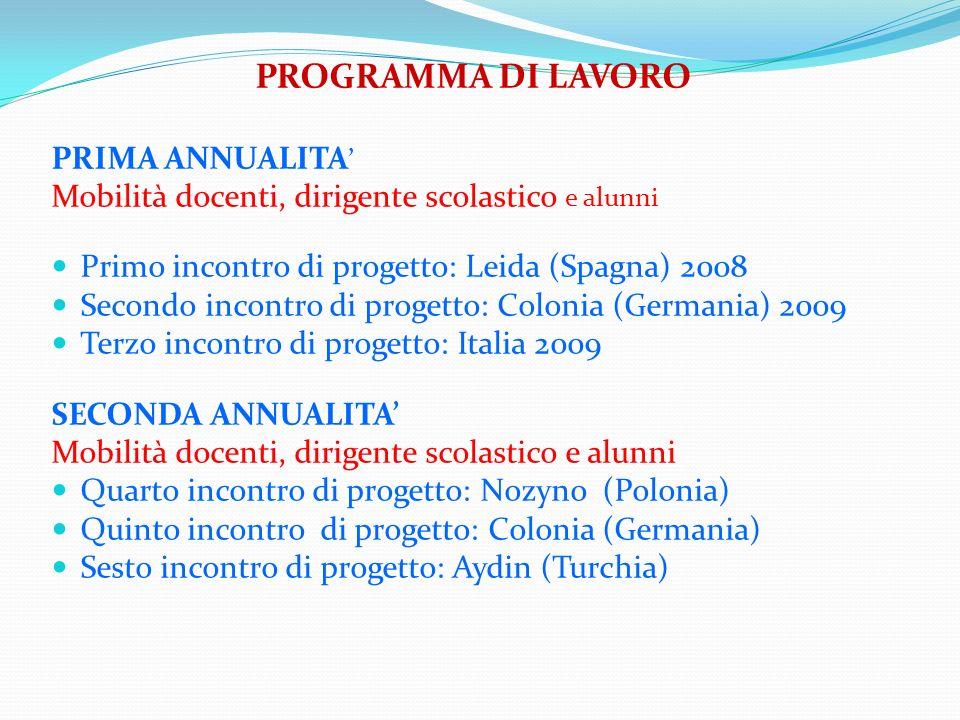 PROGRAMMA DI LAVORO PRIMA ANNUALITA'
