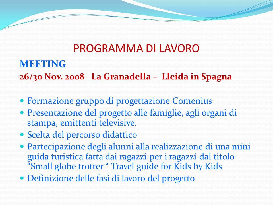 PROGRAMMA DI LAVORO MEETING