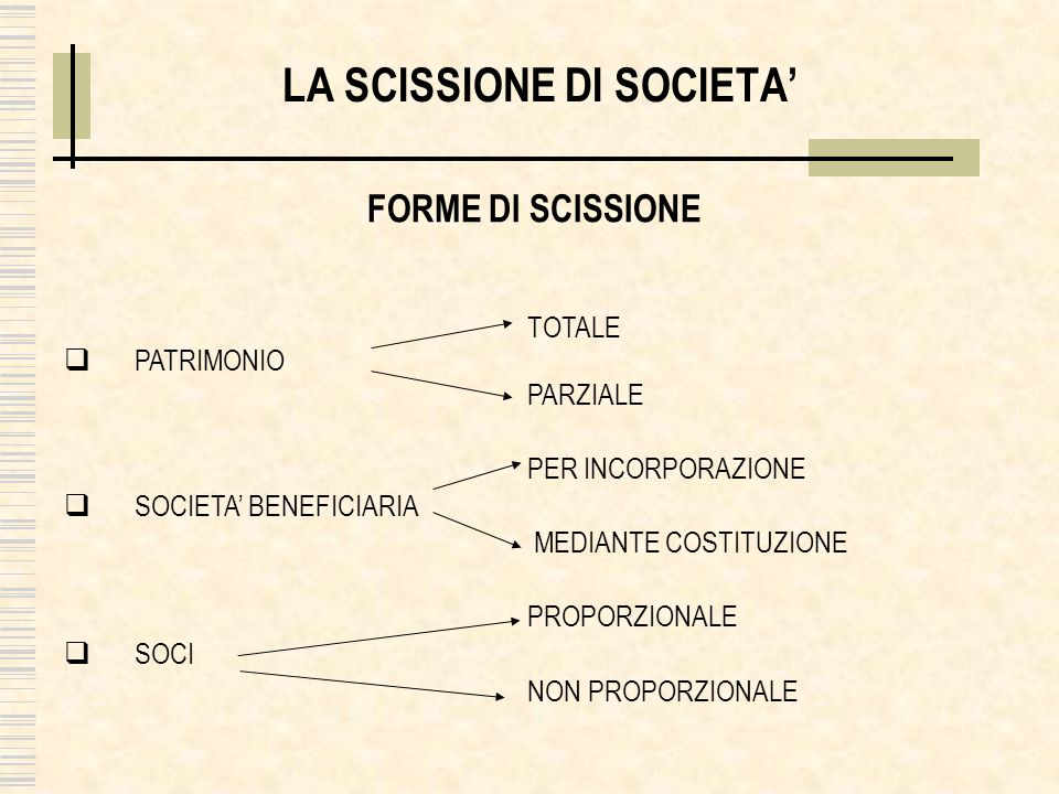 LA SCISSIONE DI SOCIETA'