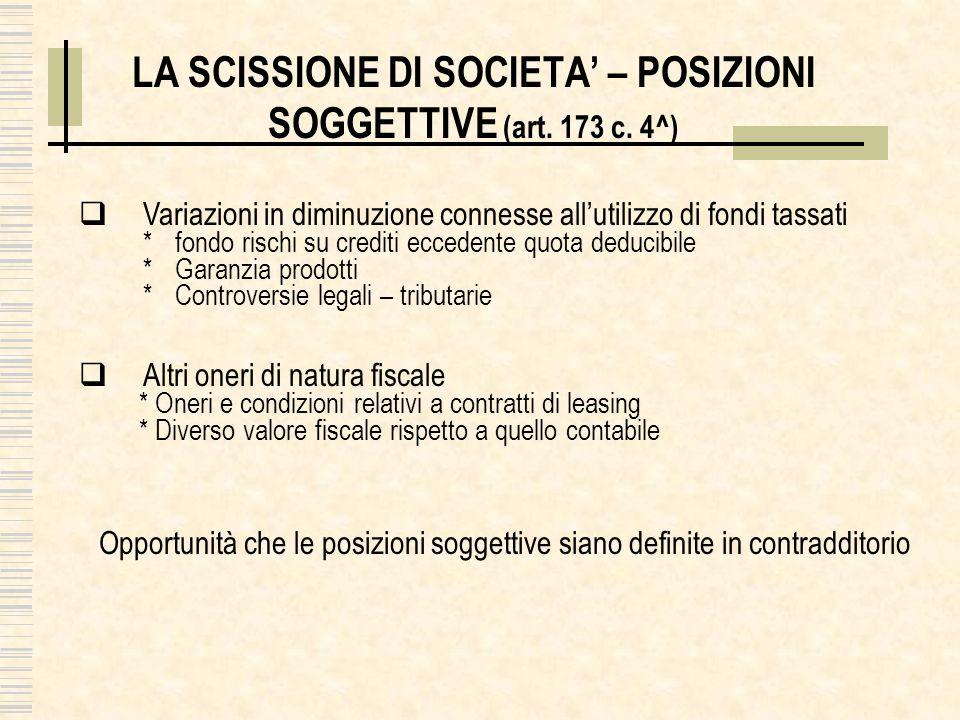LA SCISSIONE DI SOCIETA' – POSIZIONI SOGGETTIVE (art. 173 c. 4^)