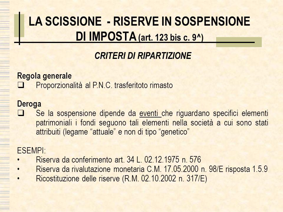 LA SCISSIONE - RISERVE IN SOSPENSIONE DI IMPOSTA (art. 123 bis c. 9^)
