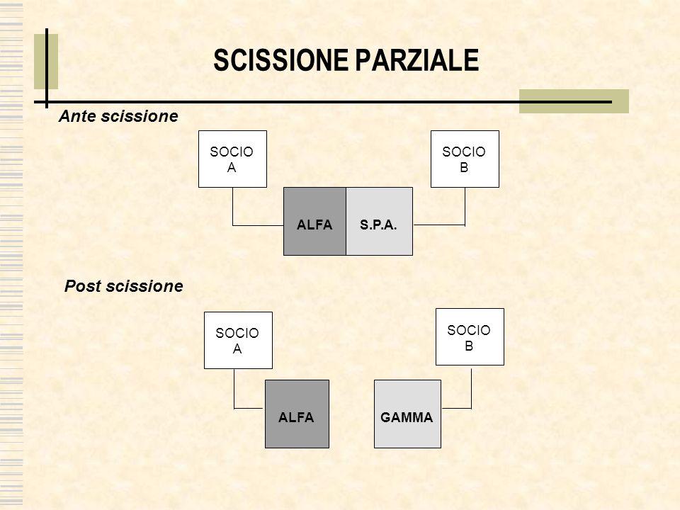 SCISSIONE PARZIALE Ante scissione Post scissione SOCIO A SOCIO B ALFA