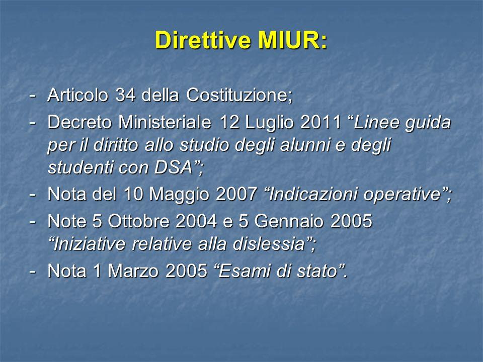 Direttive MIUR: Articolo 34 della Costituzione;