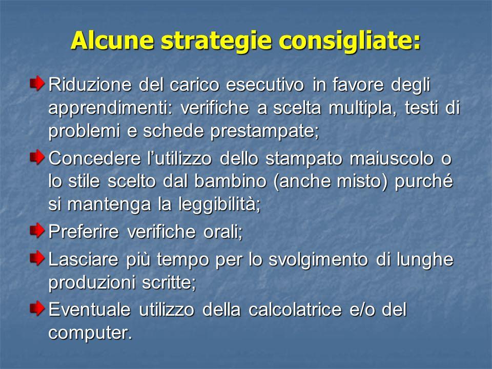 Alcune strategie consigliate:
