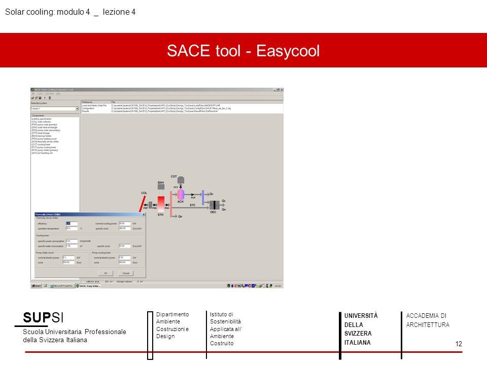 SACE tool - Easycool SUPSI Solar cooling: modulo 4 _ lezione 4