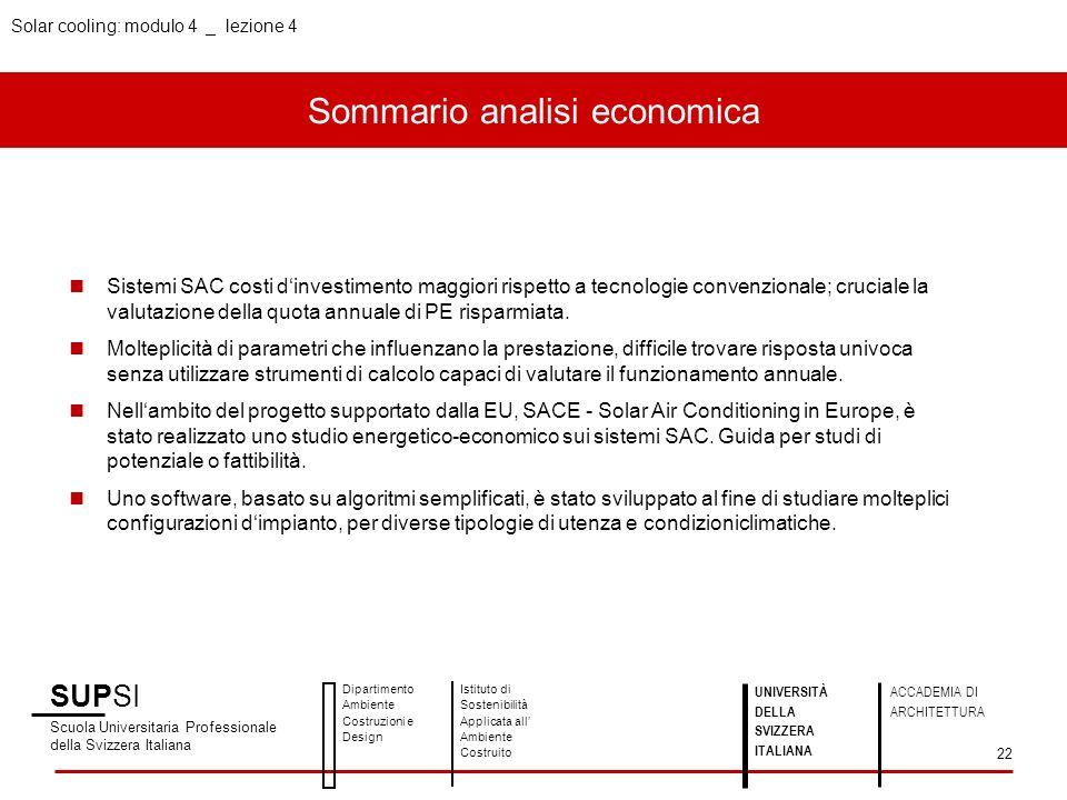 Sommario analisi economica