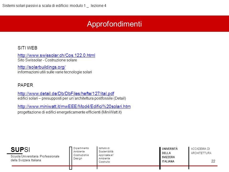 Approfondimenti SUPSI SITI WEB http://www.swissolar.ch/Cos.122.0.html