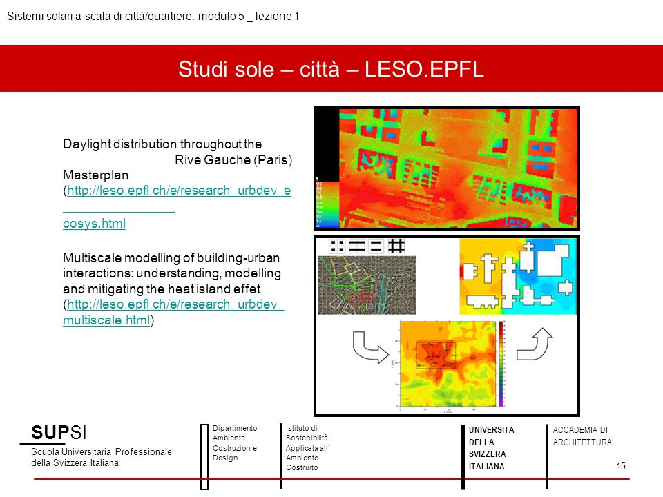 Studi sole – città – LESO.EPFL