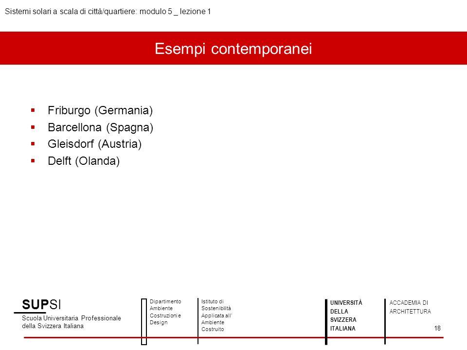 Esempi contemporanei SUPSI Friburgo (Germania) Barcellona (Spagna)