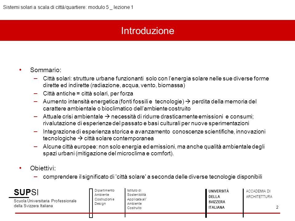 Introduzione SUPSI Sommario: Obiettivi: