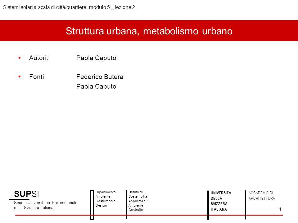 Struttura urbana, metabolismo urbano