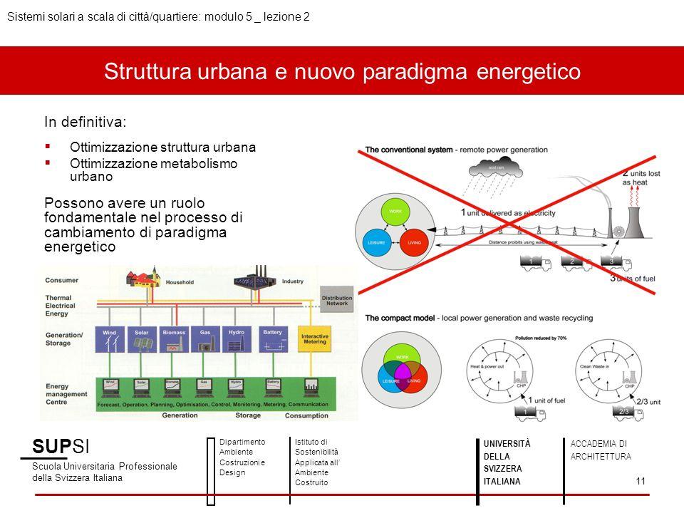 Struttura urbana e nuovo paradigma energetico