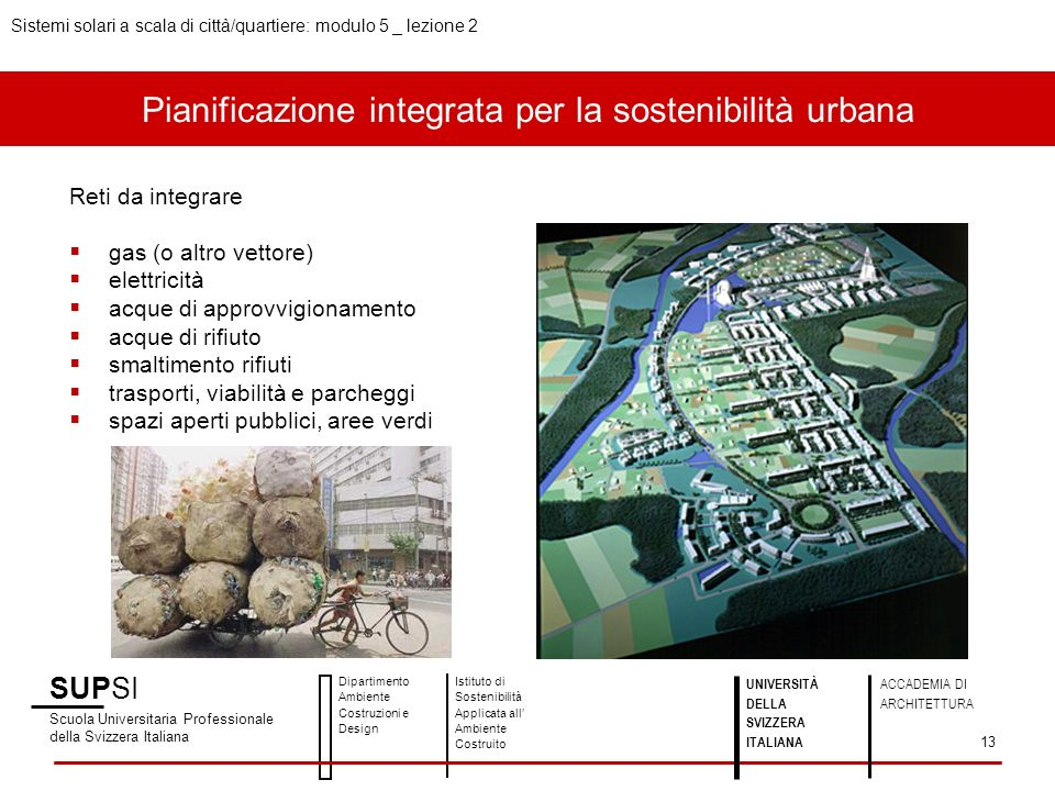 Pianificazione integrata per la sostenibilità urbana