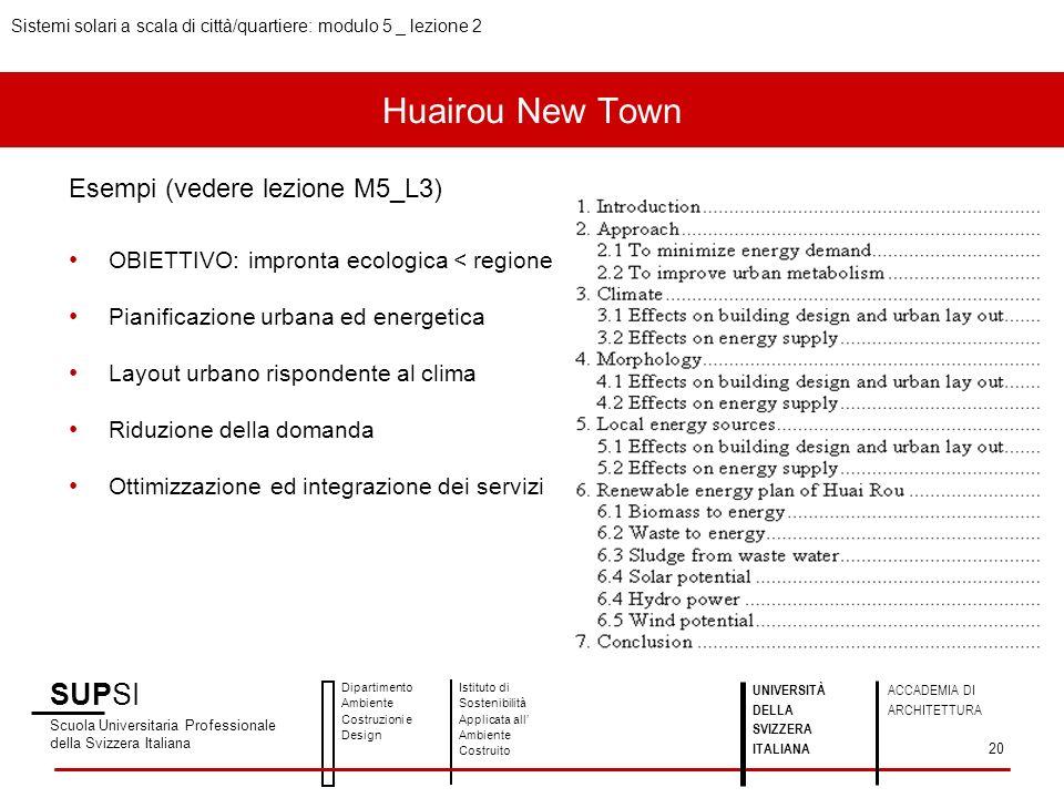 Huairou New Town SUPSI Esempi (vedere lezione M5_L3)