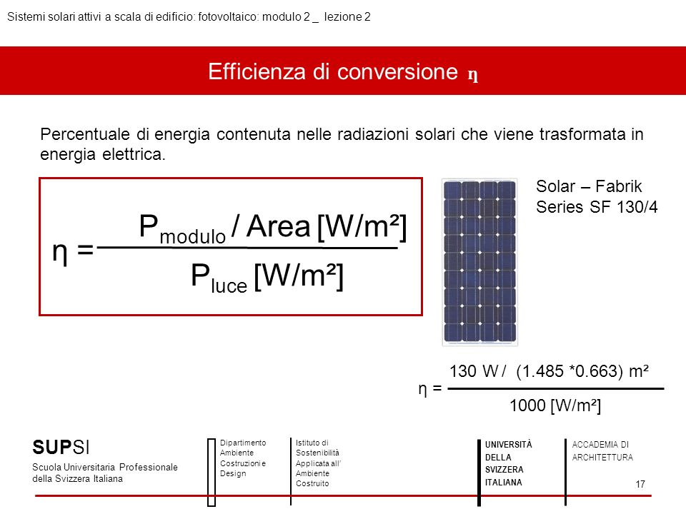 Efficienza di conversione ƞ