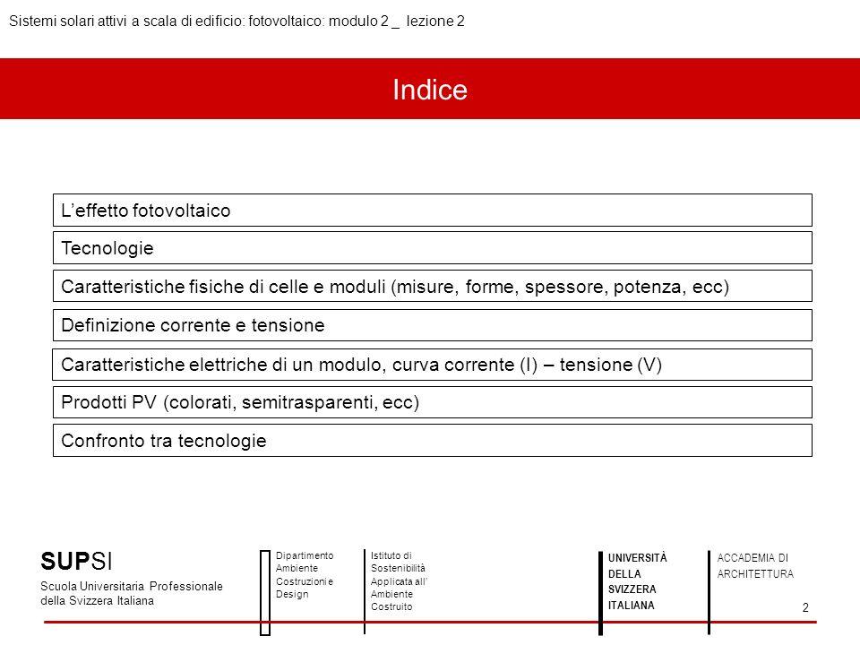 Indice SUPSI L'effetto fotovoltaico Tecnologie
