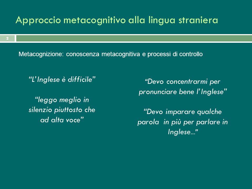 Approccio metacognitivo alla lingua straniera