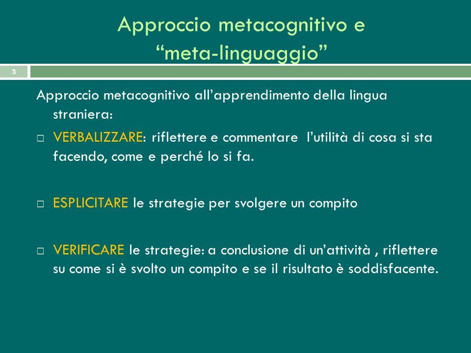 Approccio metacognitivo e meta-linguaggio