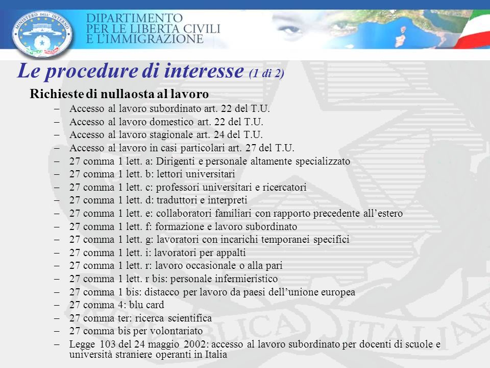 Le procedure di interesse (1 di 2)