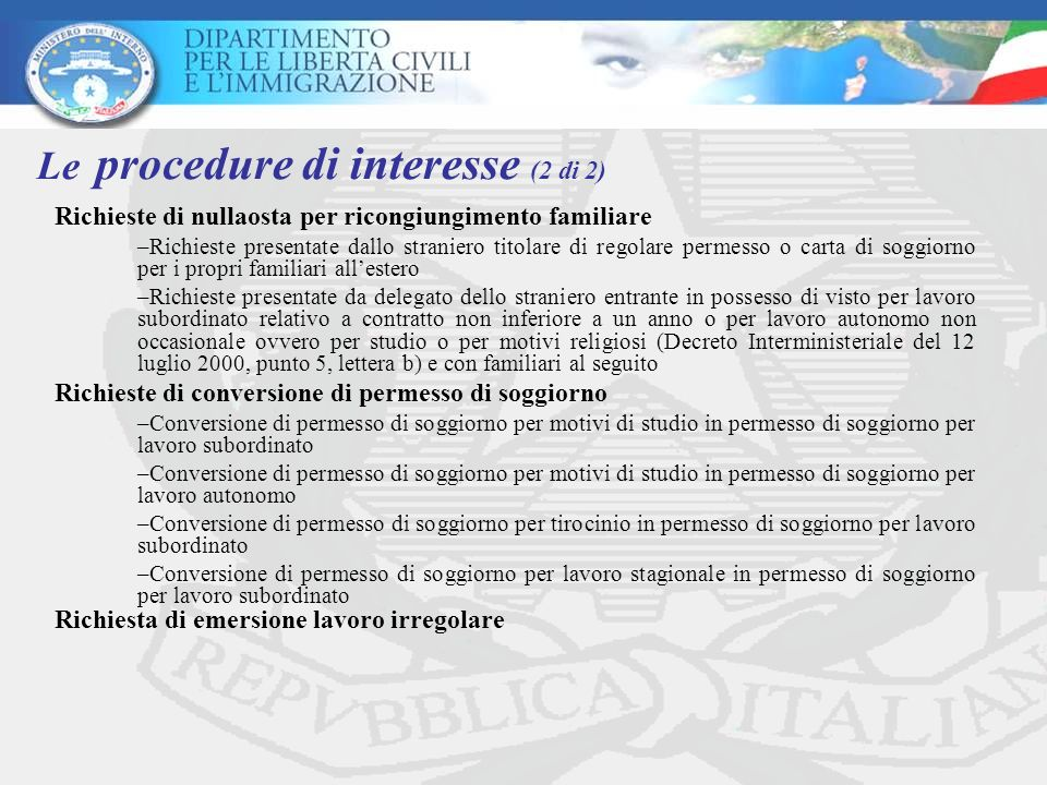 Le procedure di interesse (2 di 2)