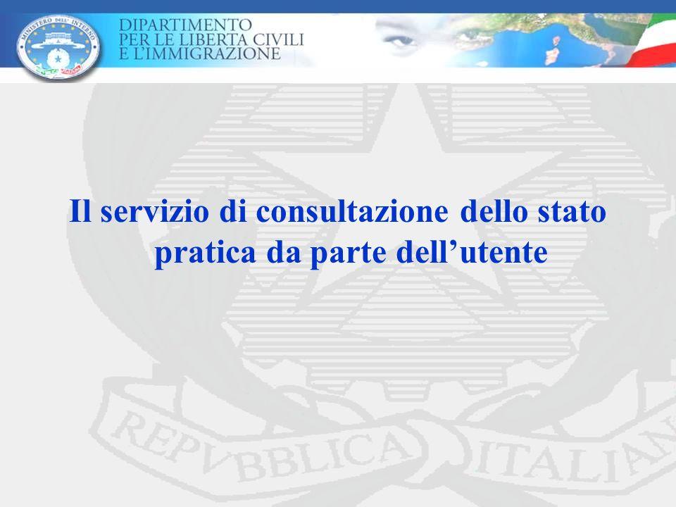 Il servizio di consultazione dello stato pratica da parte dell'utente