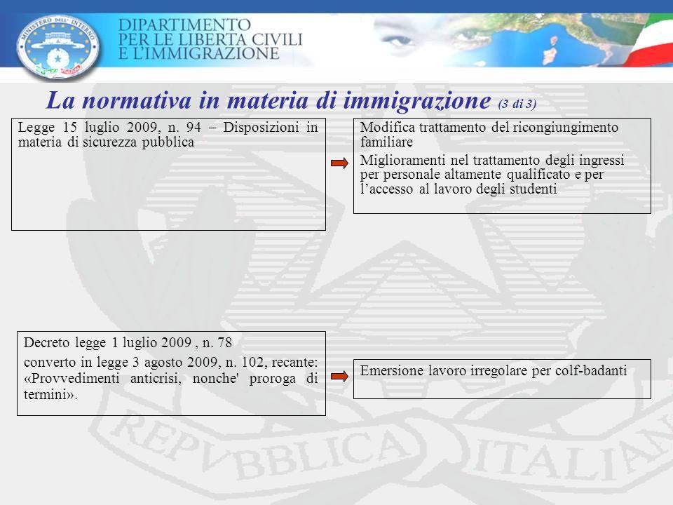 La normativa in materia di immigrazione (3 di 3)